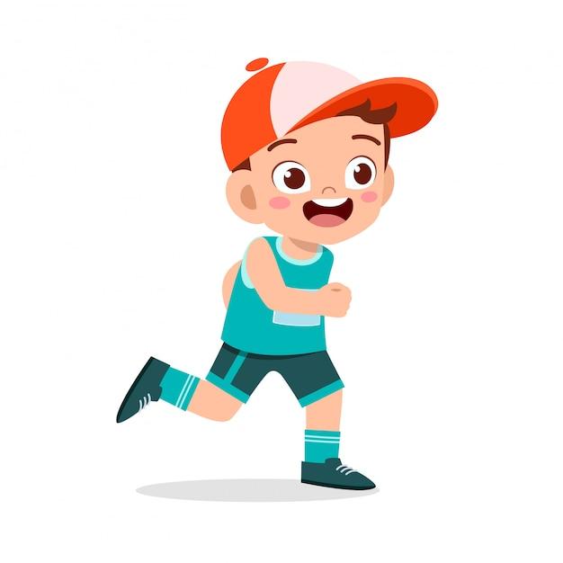Marathon jogging garçon heureux train courir Vecteur Premium