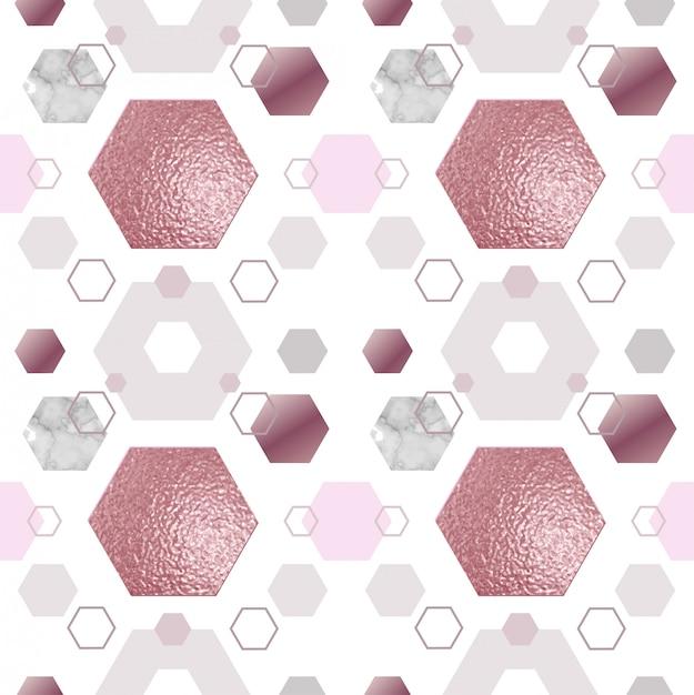 Marble gold rose seamless pattern Vecteur Premium