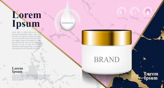 Marbre de luxe couleur gris rose-bleu pour paquet 3d cosmétique hydratant Vecteur Premium