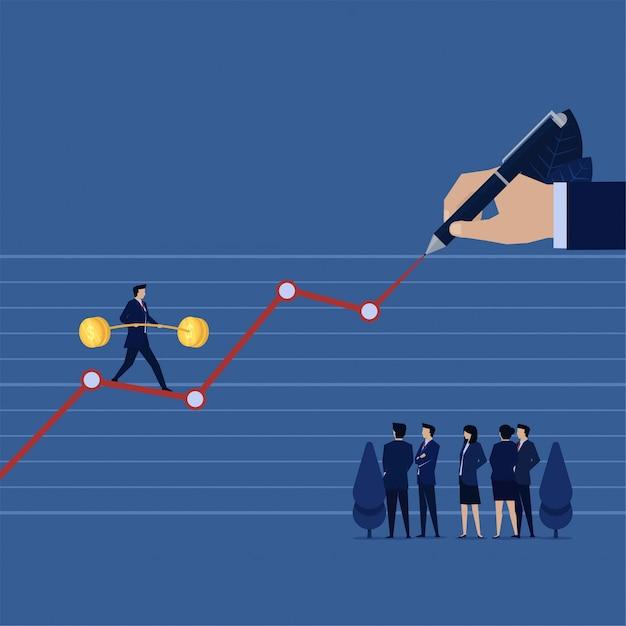 La marche des affaires s'équilibre sur le tirage au sort des profits financiers du graphique à la main pendant que l'équipe analyse les bénéfices futurs. Vecteur Premium