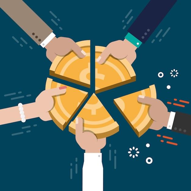 Marché entreprise part concurrence concept illustration vecteur Vecteur Premium