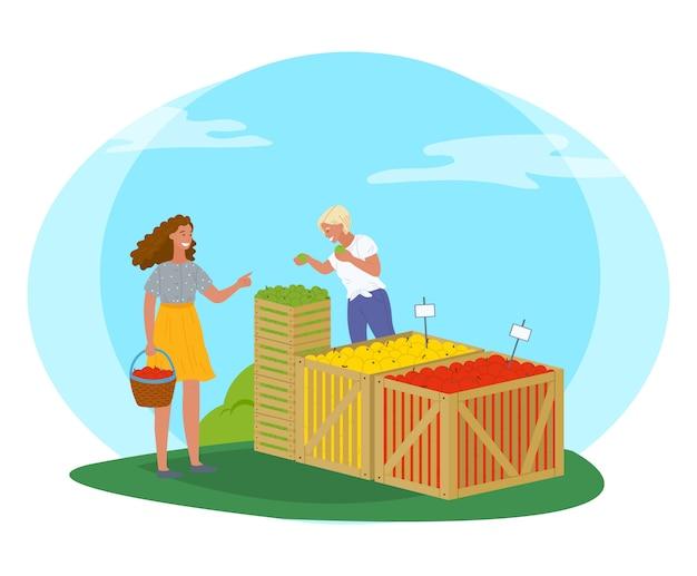 Marché équitable dans le vendeur du parc avec le vecteur de pommes Vecteur Premium