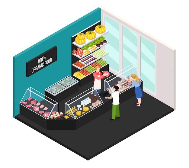Marché Fermier De L'intérieur Isométrique Des Aliments Biologiques Avec Le Vendeur Montrant Les Acheteurs De Viande De Ferme Fraîche Vecteur gratuit