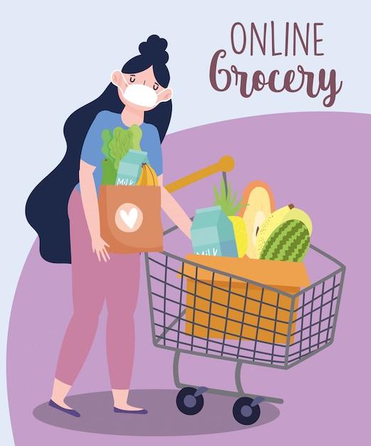 Marché En Ligne, Femme Avec Masque Et Panier Et Panier, Livraison De Nourriture En épicerie Vecteur Premium