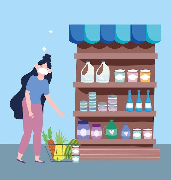 Marché En Ligne, Fille Avec Masque Dans Le Supermarché, Livraison De Nourriture Dans L'illustration De L'épicerie Vecteur Premium
