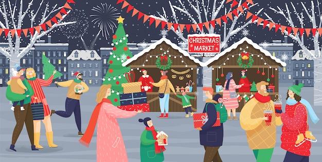 Marché de noël célébration des vacances d'hiver Vecteur Premium
