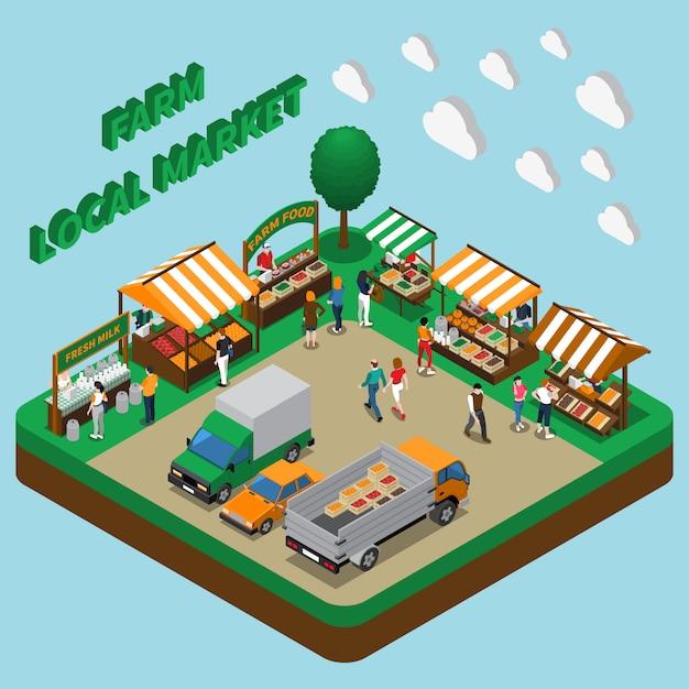 Marché des produits de la ferme Vecteur gratuit