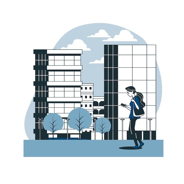 Marcher dans l'illustration du concept de ville Vecteur gratuit