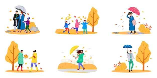 Marcher Les Gens Avec Des Parapluies Jeu De Caractères Sans Visage Couleur Vecteur Premium