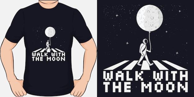Marcher Avec La Lune. Design De T-shirt Unique Et Tendance Vecteur Premium