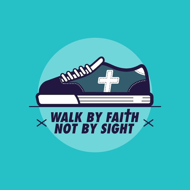 Marcher par la foi et non par la vue Vecteur Premium