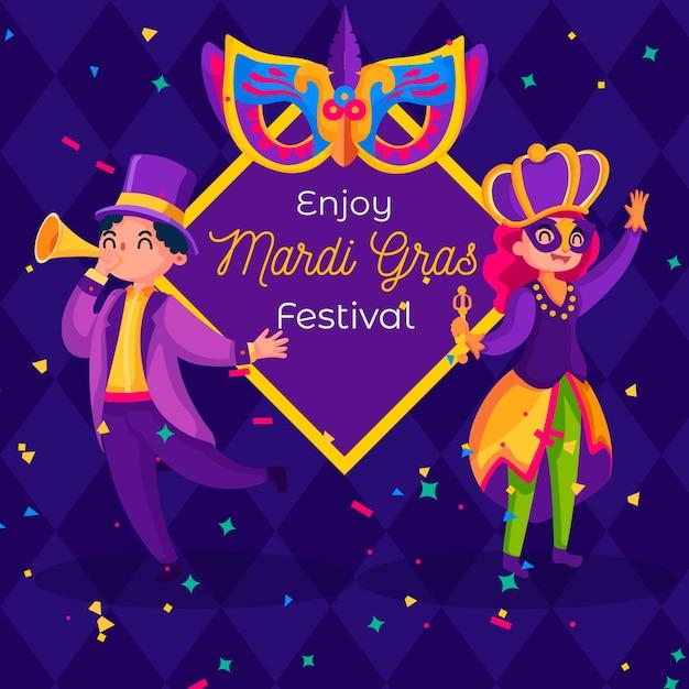 Mardi Gras Coloré Au Design Plat Vecteur gratuit