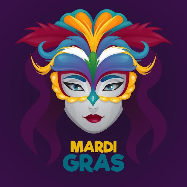 Mardi Gras Dessiné à La Main Vecteur gratuit