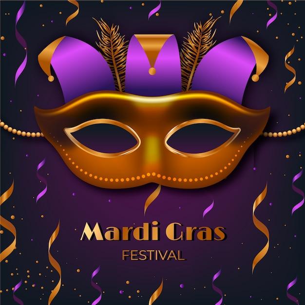 Mardi Gras Réaliste Avec Masque Et Confettis Vecteur gratuit
