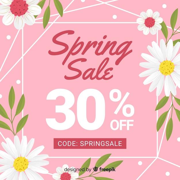 Marguerites printemps vente fond Vecteur gratuit
