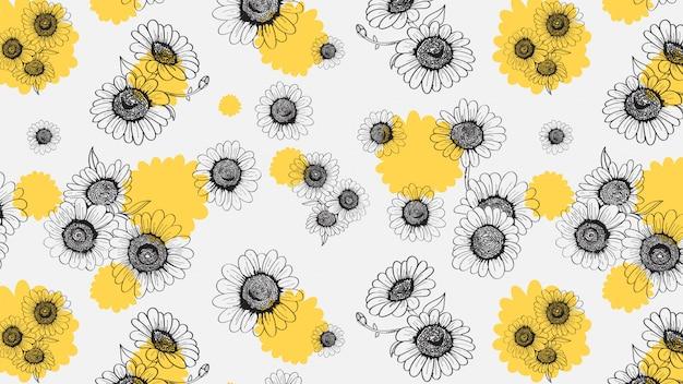 Marguerites seamless pattern dessiné à la main Vecteur Premium