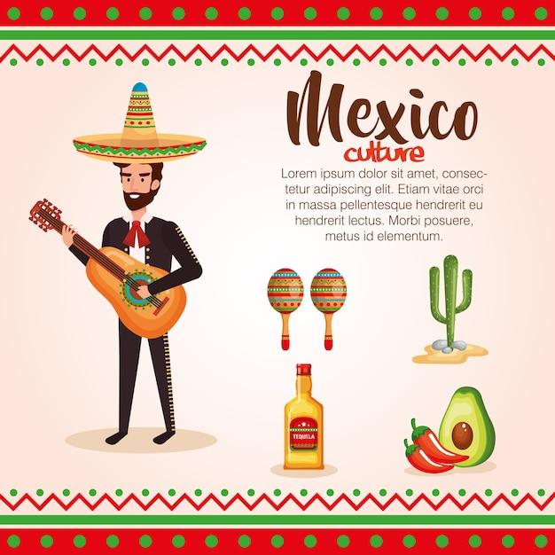 Mariachi mexicain avec set d'icônes caractère Vecteur Premium