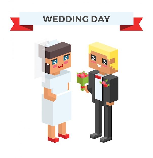 Mariage 3d couples cartoon style illustration vectorielle Vecteur Premium