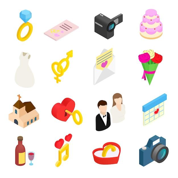 Mariage et amour célébration isométrique 3d icônes définies Vecteur Premium