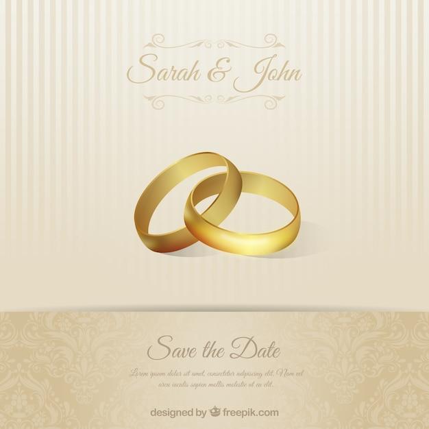 Mariage carton d'invitation avec des anneaux Vecteur gratuit