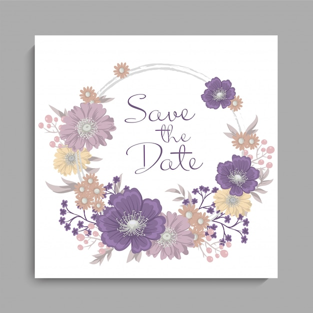 Mariage floral fond violet motif floral Vecteur gratuit