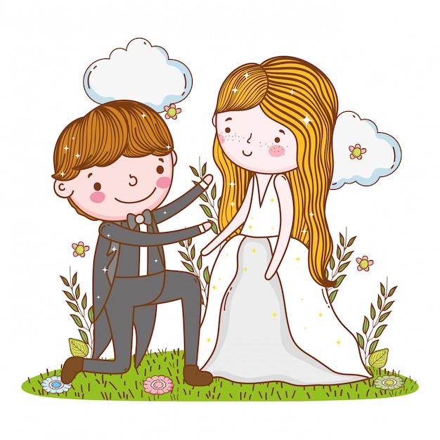 Mariage homme et femme avec nuages et plantes Vecteur Premium