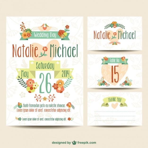 Mariage imprimables ensemble floral Vecteur gratuit