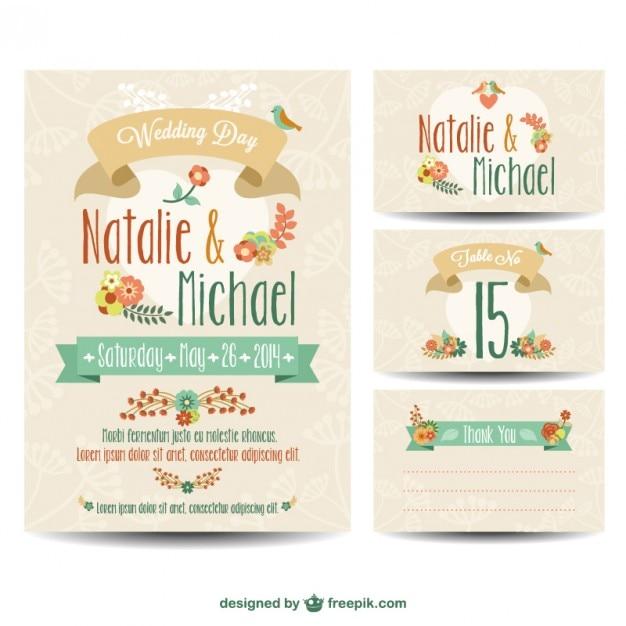 Mariage imprimables ensemble gratuit Vecteur gratuit