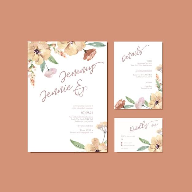 Mariage mariage carte mariage floral carte heureuse carte, détail de rsvp. Vecteur gratuit