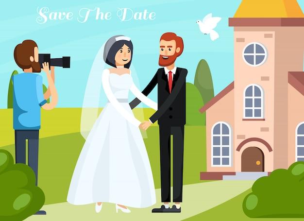 Mariage personnes orthogonales composition Vecteur gratuit