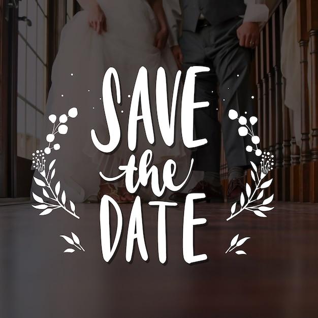 Mariage réservez la date avec photo Vecteur gratuit