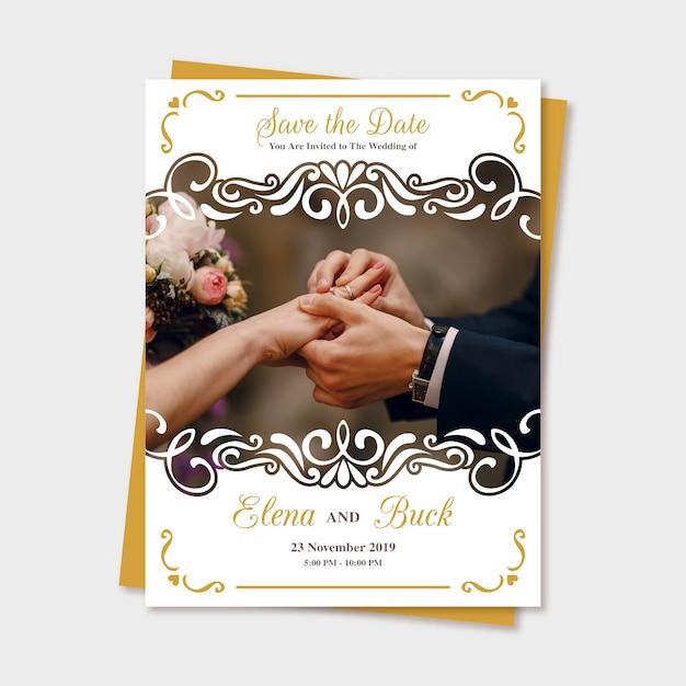 Mariage Sauvegarder L'invitation De Date Avec Photo Vecteur gratuit