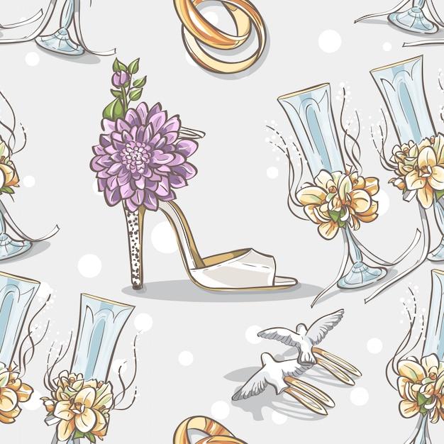Mariage De Texture Transparente Avec Des Anneaux De Mariage, Des Lunettes Et Des Chaussures Mariée Vecteur Premium