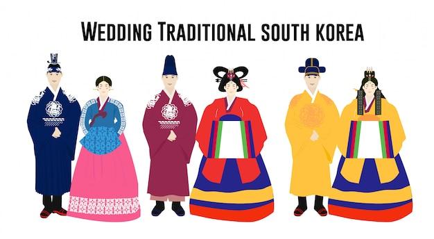 Mariage traditionnel bundle sud-coréen Vecteur Premium