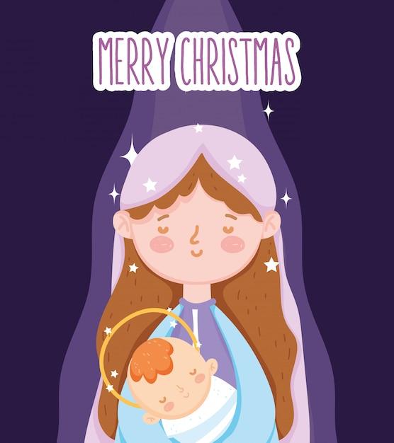 Marie avec bébé jésus crèche manger, joyeux noel Vecteur Premium