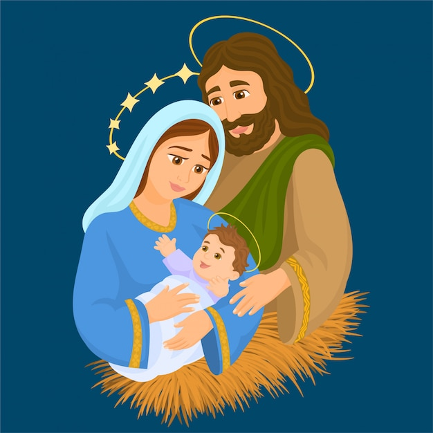 Marie, joseph et l'enfant jésus Vecteur Premium
