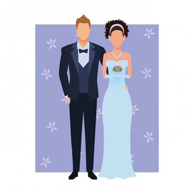 Le marié et la mariée Vecteur Premium