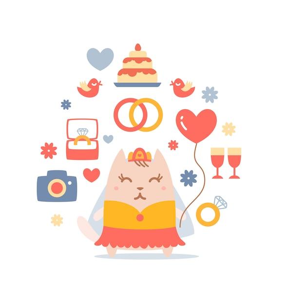 Mariée de chat de caractère dans une robe de mariée tenant un ballon Vecteur Premium