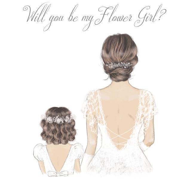 Mariée Et Fille De Fleur Illustration Dessinée à La Main. Illustration De Mariage Vecteur Premium