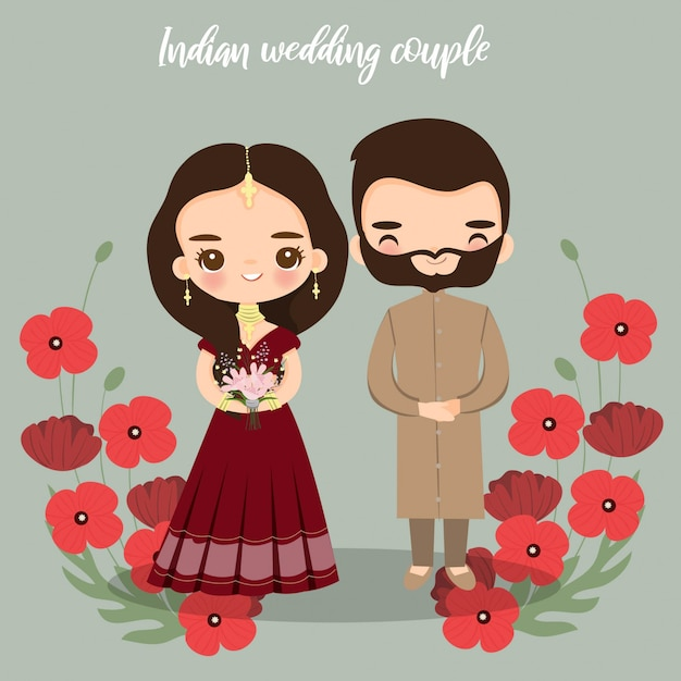 Mariée indienne mignonne et le marié pour la carte d'invitations de mariage Vecteur Premium