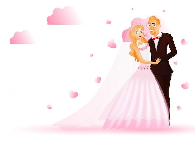 Mariée et le marié. Vecteur Premium