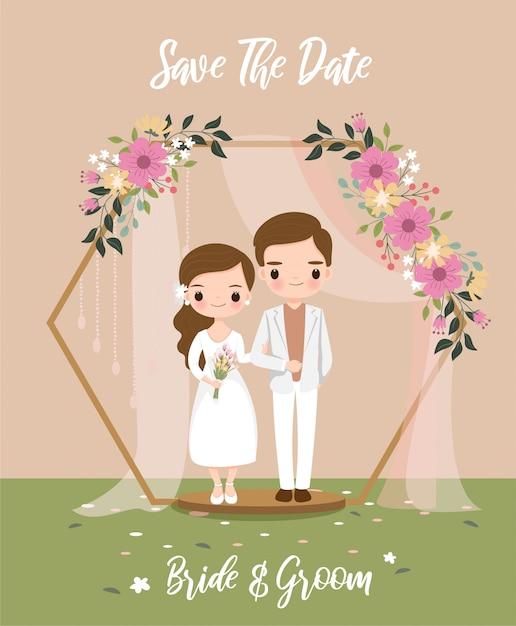 Mariée mignonne sous l'arc hexagonal pour carte d'invitations de mariage Vecteur Premium