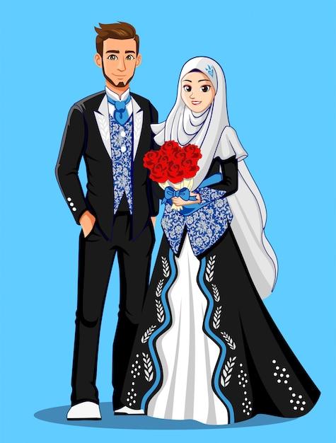 Mariées Musulmanes En Vêtements Noirs Et Argentés. Vecteur Premium