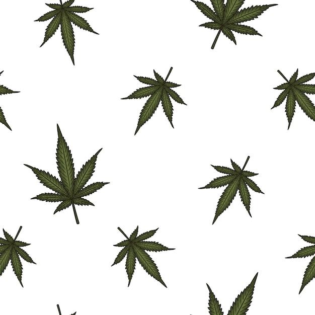 La Marijuana Laisse Un Modèle Sans Couture. Vecteur Premium