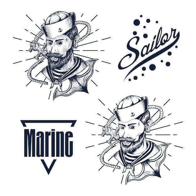 Marin homme main dessiner illustration vectorielle Vecteur Premium