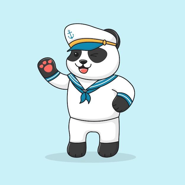 Marin Panda Sympathique Mignon Portant Un Chapeau Vecteur Premium