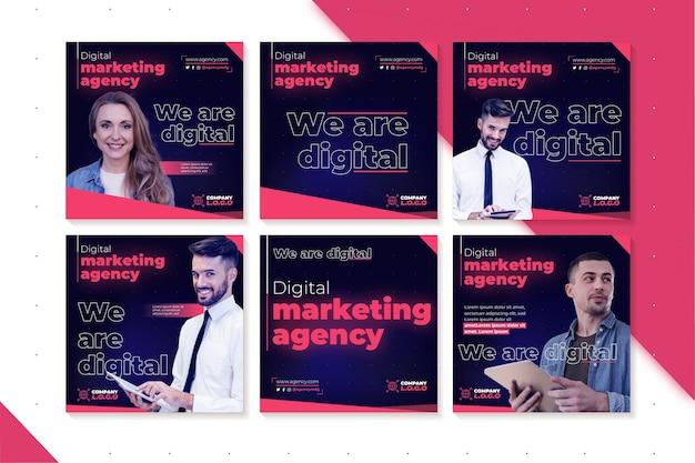 Marketing Business Instagram Posts Vecteur gratuit