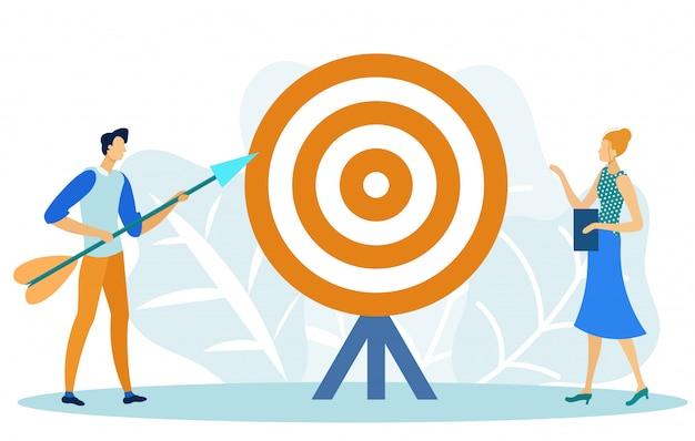 Marketing ciblé, objectif, objectif, réalisation Vecteur Premium