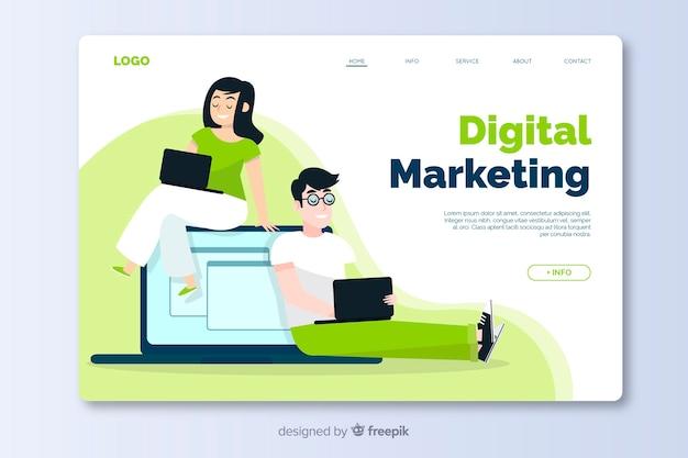 Marketing design plat modèle de page de destination Vecteur gratuit