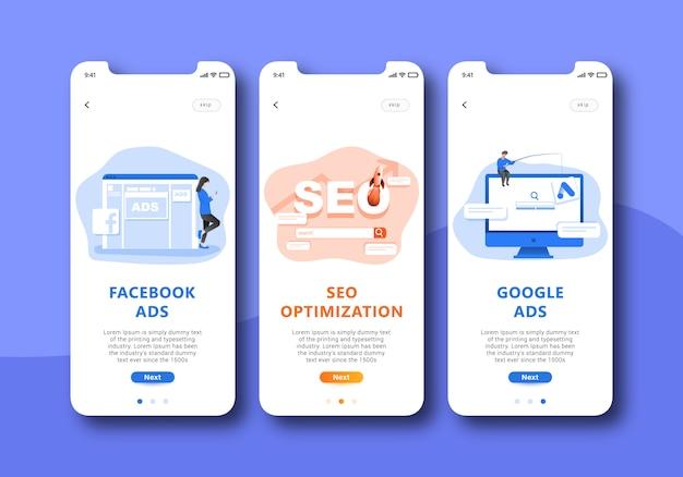 Marketing digital sur écran mobile interface utilisateur Vecteur Premium